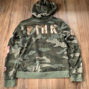 PINK VS Camo bling rose gold flower zip up hoodie